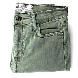 Free People Distressed Light Green Skinny Jeans